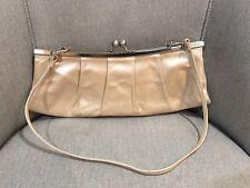 Hobo International Kisslock Beige Metallic Leather Clutch Purse Evening Bag