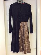 Womens Dress Size Small Black And Gold Crushed Velvet Pleated