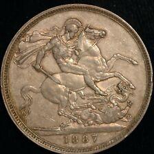 Crown Victoria Jubilee Head 1887 EF  .925 Silver (T111)