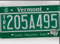 """VERMONT 2015 license plate """"205A495"""""""