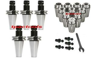 5PC CAT40 ER16 PRECISION COLLET CHUCK 20000 RPM 10PC ER16 COLLETS HAAS PULL STUD