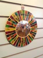 Colour Line Mosaic Tile Wall Mirror 30cm x 30cm 12inches New Handmade Fairtrade