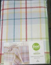 "Food Network Tablecloth Woven Patio Picnic Plaid 70"" Round Washable Cotton NEW"