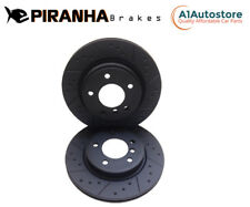 Ford Mondeo 00-07 Front Brake Discs Coated Black Dimpled Grooved Piranha