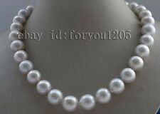Natural 14mm White Round Edison Reborn Keshi Pearl necklace 925sc mabe f2421!