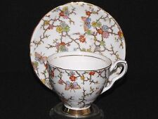 Royal Stafford Teacup and Saucer Set Butterflies, Flowers on Branches