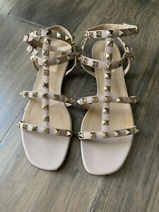 Valentino Garavani Rockstud Ankle Strap Sandals Poudre 38.5