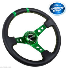 "NRG 3"" Deep Dish Steering Wheel 350mm Black Leather Green Spokes RST-016R-GN"
