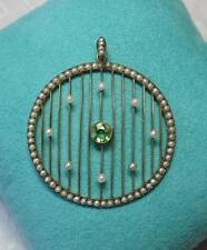Peridot Pearl Necklace Edwardian Antique Lavaliere Pendant Gold Victorian Deco