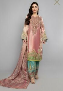 Maria B Embroidered Tissue Unstitched 3 Piece Suit MB20WD 08 -Wedding Collection