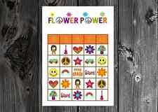 Flower Power Hippie 60s 70s Birthday Party Game Bingo on Card Stock 10/20/30ct