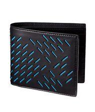 NWT Bottega Veneta Men's Perforated Paper Cut Leather BiFold Wallets Black Blue