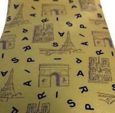 Paris Eiffel Tower Neck Tie Silk Yellow Blue Travel France Art Small Pattern 4