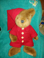 """Vintage 13"""" Ganz Heritiage Collection Plush Bear in Red Pjs and NightCap"""