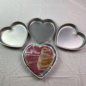 Wilton Party Pans Vintage Mini-Tier Heart Cake Pans 1976 W/Three Xtra Heart Pans