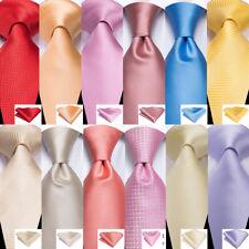 Classic Silk Mens Ties Set Pink Blue Red Gold Purple Solid Necktie Handkerchief