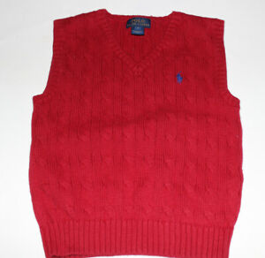 Boys POLO RALPH LAUREN Red Cotton Sweater Vest Size 4