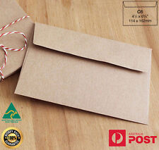 200 x C6 Recycled Brown Kraft Envelopes for Wedding Cards FREE Postage- A Grade