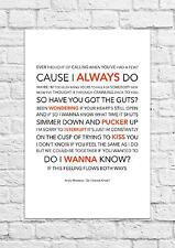 Arctic Monkeys - Do I Wanna Know? - Song Lyric Art Poster - A4 Size