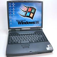 Windows 98 retro portátil toshiba satellite pro 4300 4340 650 MHz 20 gb rs-232 dos