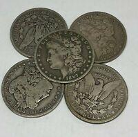 Lot of 5 1878-1904 Morgan Silver Dollars - $5 Face 90% VG-F 1/4 Roll