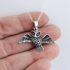 Owl Necklace - 925 Sterling Silver - Barn Owl Wings Fly Owl Charm Pendant NEW