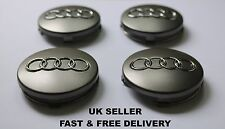 4x Audi Alloy Wheel centre caps 60mm Grey with chrome effect Fits - TT Q3 Q5 Q7