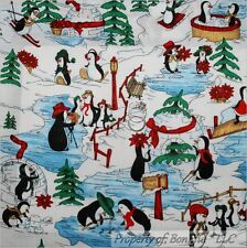 BonEful Fabric FQ Cotton Quilt B&W Red Penguin Scenic Winter Sports Xmas Holiday
