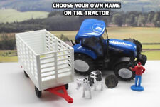 PERSONALISED NAME Gift New Holland Blue Farm Tractor & Trailer Boys Toy Play Set