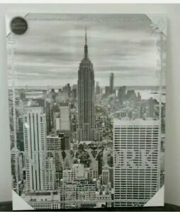 50cm x 40cm New York Glitter Home Canvas Frame Wall Art Picture Print