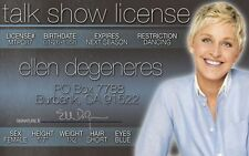 ellen degeneres plastic ID card Drivers License star of THE ELLEN SHOW