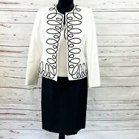 Kasper petite Women's 3PC Skirt Suit Open Blazer Black/White Retro Size 2P