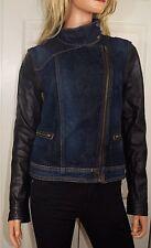 RAG & BONE Denim Moto Style Zip Up Jacket with  Leather Sleeves   Size Small