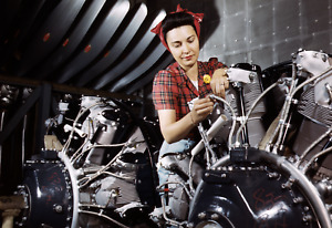 """1942 Woman Working on an Airplane Motor, CA Old Photo 13"""" x 19"""" Reprint"""