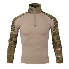 Mens Army Camo Combat Sport T-shirt Long Sleeve Quick Dry 1/4 Zip Pullover Tees