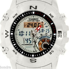 Casio Men's Hunting Timer Thermometer Stainless Steel Watch AMW704D-7AV New