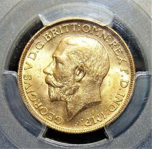 India: British india. George V gold Sovereign 1918-I MS63 PCGS