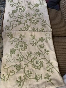 "2PC Pottery Barn Crewel Embroidered Pillow Covers Cases Floral 18"" Green Tan"