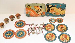 Vintage OHIO Art Tin Tea Set Children's Play Set Dishes > 52s
