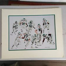 1990's Philadelphia Eagles Matted Print Signed by Jerry Thierolf 14 of 25 RARE!!