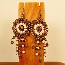 "2 1/2"" Gold/Pearl Color Dreamcatcher Handmade Dangle Seed Bead Hook Earring"
