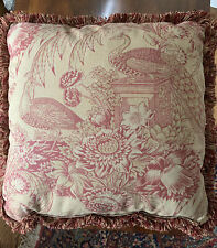 French Country Cottage Pillow Burgundy Beige Toile Floral Bird Farm House 20X20