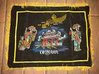 "Vintage Okinawa Black Tapestry Velvet Wall Hanging Banner 24""x18"" W/ Fringe"