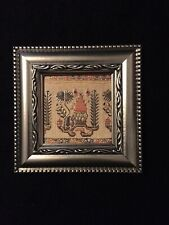 Flower Embroidery Motif PRİNTED Wall Hanging With Frame
