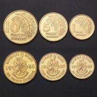 Guinea Set 3 Coins, 1+5+10 Francs Guineens, 1985 , UNC