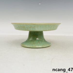 "5.1"" Old Antique Song dynasty ru kiln Porcelain Museum mark cyan glaze Plate"