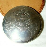 ANTIQUE JERUSALEM SILVER ROYAL AIR FORCE RAF SWEETHEART COMPACT 833 LG & POUCH