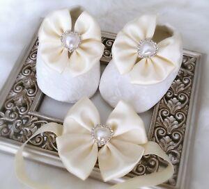 Baby Girl Ivory Christening Shoes Baptism Satin Bows Rhinestone Hearts Set