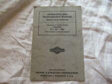 Briggs & Stratton B BP BR6 engine operator's maintenance manual & parts catalog