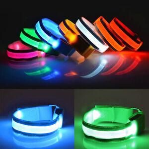 Colorful LED Light Armband Strap Wrist Slap Ankle Night Running Glow Safety